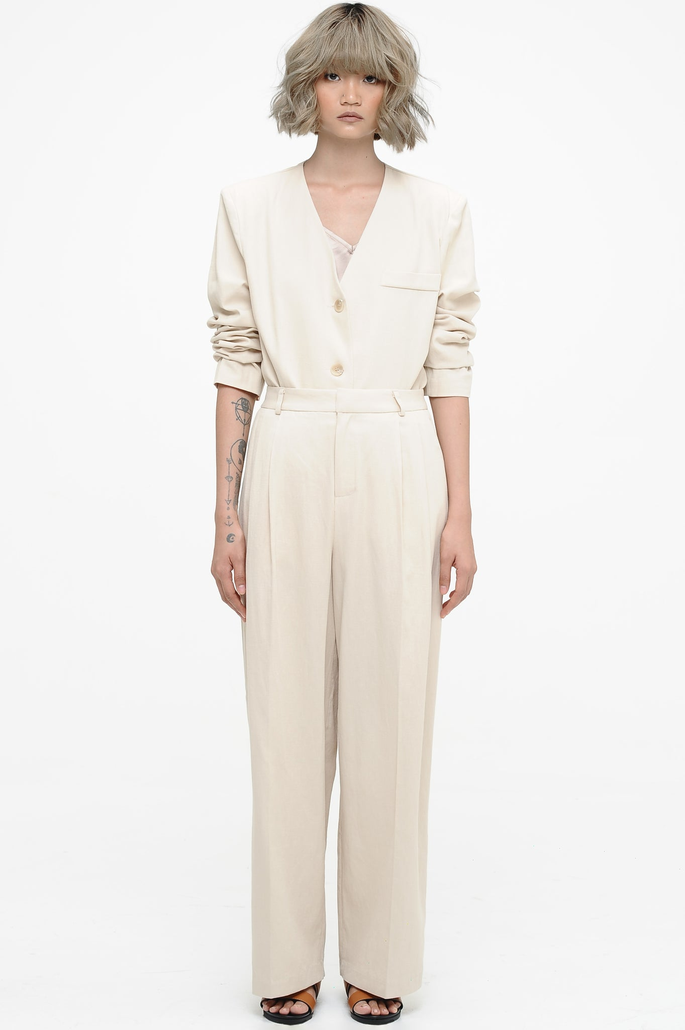 Cream Collarless Jacket and Trousers Set