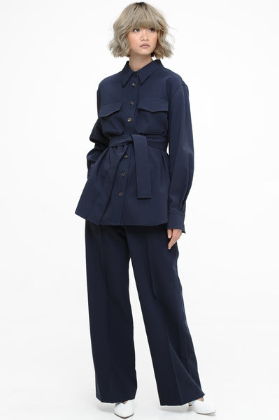 Navy Blue Utility Shirt and Trousers Set