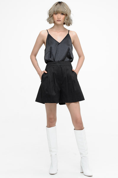 Black Front Pleat Shorts