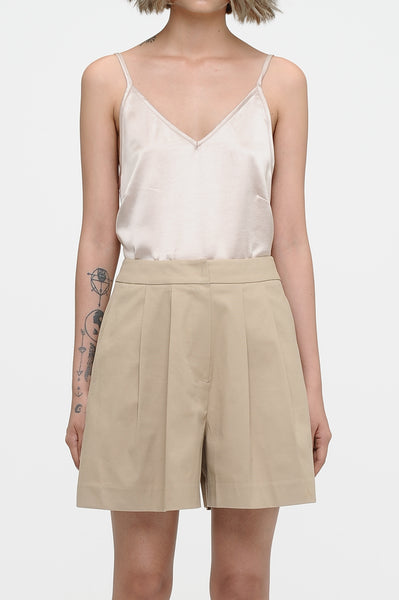 Khaki Front Pleat Shorts