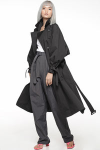 Black Balloon Sleeved Trench Coat