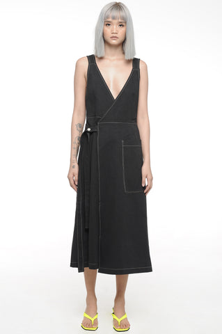 Black Overlap Dress