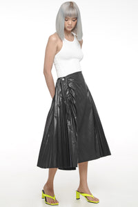 Black Pleated Leather-Like Skirt