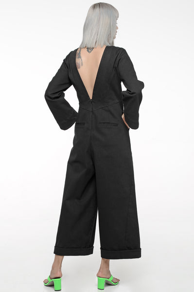 Black V-Back Jumpsuit