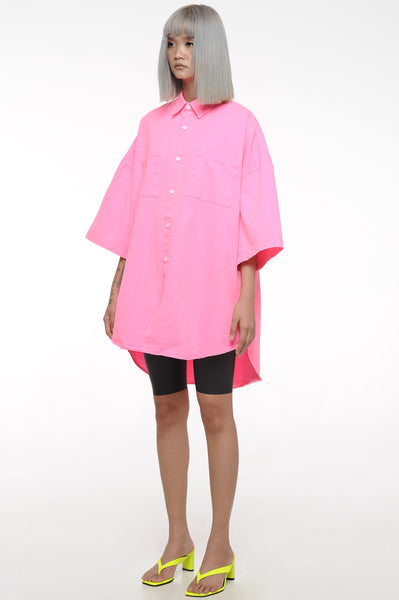 Neon Pink Oversized Button-Down Shirt