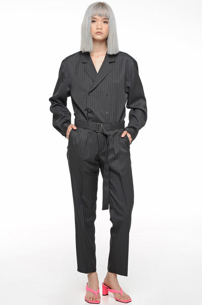 Black Double Breasted Slouch Suit Set