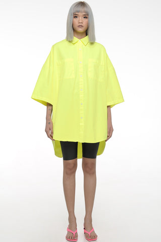Neon Yellow Oversized Button-Down Shirt
