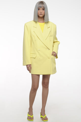 Wax Yellow Oversized Double Breasted Blazer
