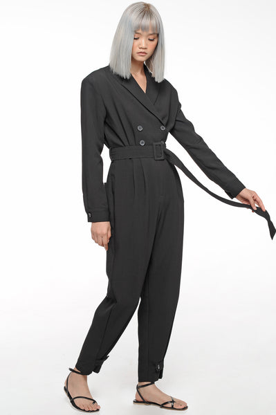 Black Double Breasted Jumpsuit