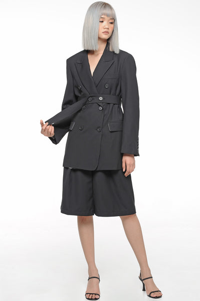 Black Belted Suit and Shorts Set