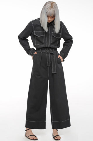 Black Contrast Stitch Jumpsuit