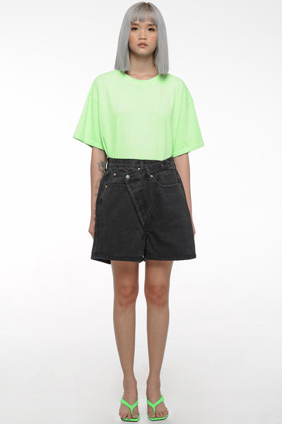 Black Overlap Shorts