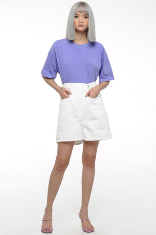 White Overlap Shorts