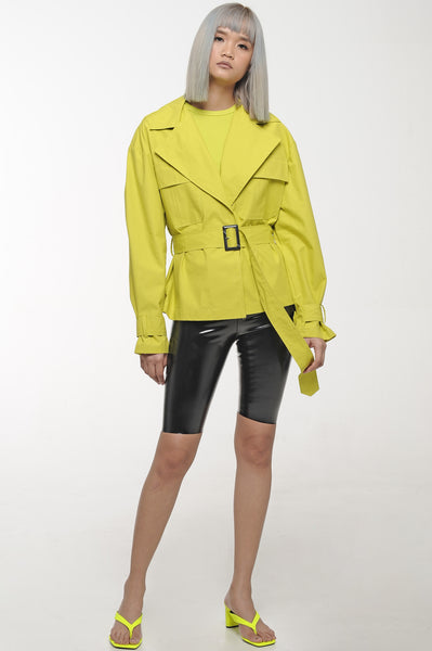 Chartreuse Cropped Belted Jacket