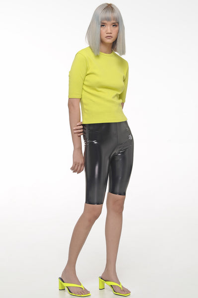 Chartreuse Three Fourth Sleeved Top