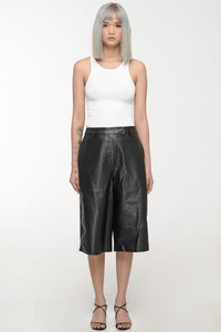 Black Leather-Like Culottes
