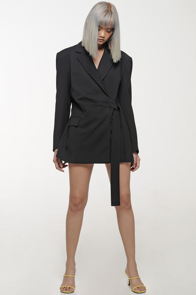 Black Side-Tie Blazer