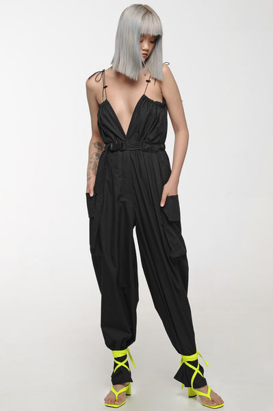Black String Strap Jumpsuit