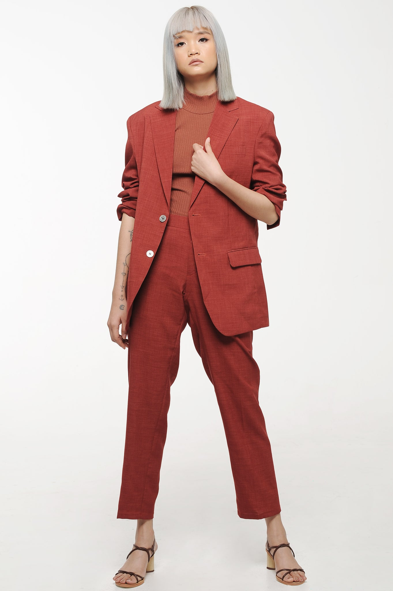 Rust Single Breasted Blazer and Trouser Suit Set