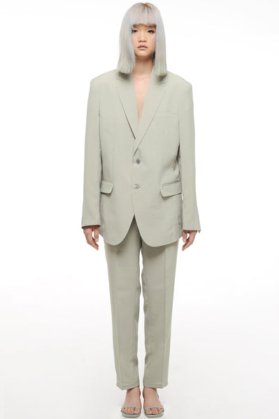 Green Grey Single Breasted Blazer and Trouser Suit Set