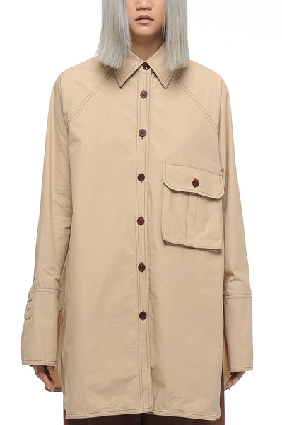 Eggnog Oversized Button-Down Shirt