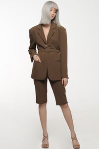 Coffee Belted Suit and Shorts set