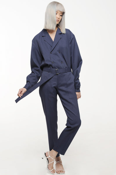 Navy Blue Double Breasted Slouch Suit Set