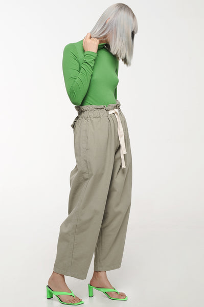 Sage Paperbag Waist Trousers