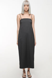 Black Boxy Slip Dress