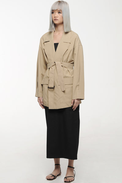 Khaki Utility Wrap Short Coat