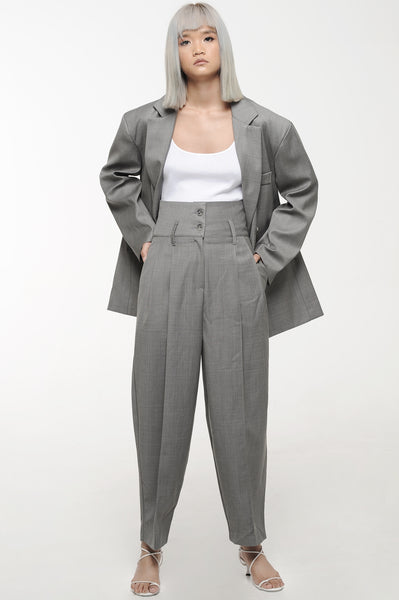 Grey Oversized Soft Suit Set