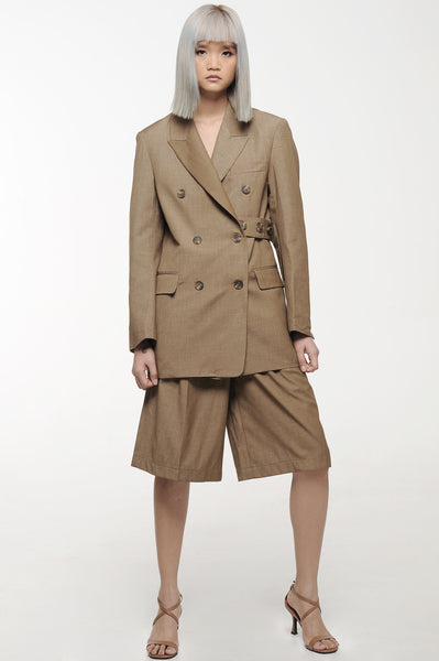 Beaver Brown Belted Blazer and Shorts Suit Set