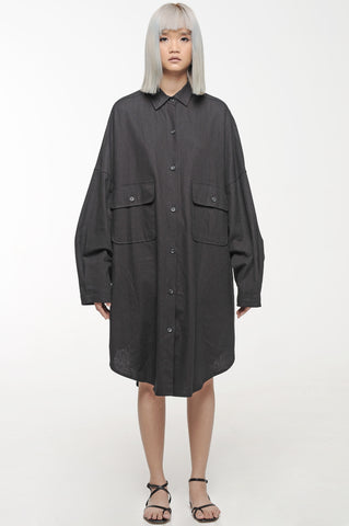 Black Oversized Button-Down Shirt Dress