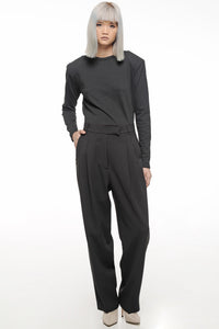Black Front Pleat Trousers