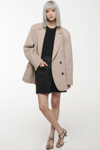 Almond Oversized Double Breasted Blazer