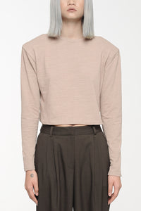 Khaki Padded Long-Sleeved T-Shirt Top
