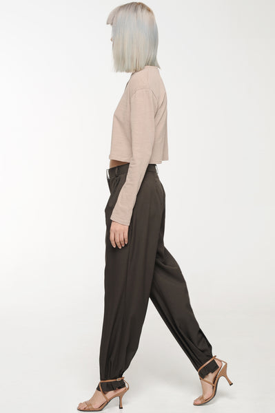 Soot Brown Front Pleat Trouser