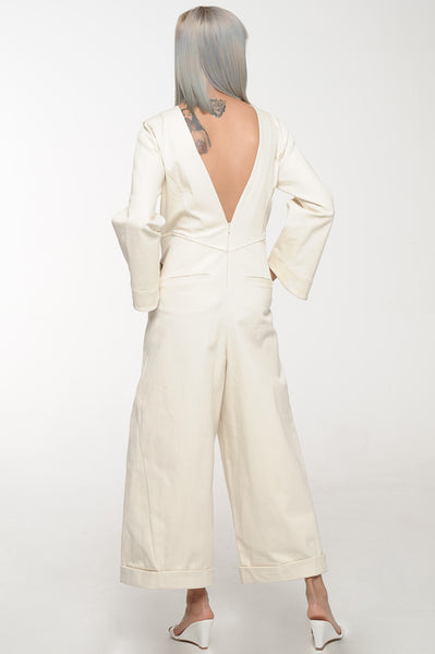 Ivory V-Back Jumpsuit