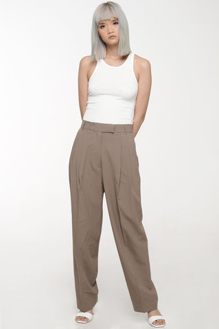 Beaver Brown Front Pleat Trousers