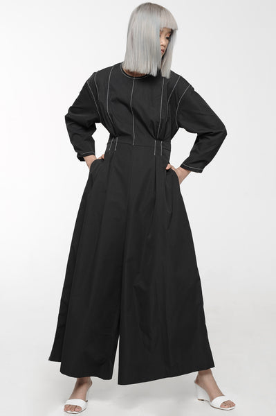 Black Contrast Stitch Wide Leg Jumpsuit