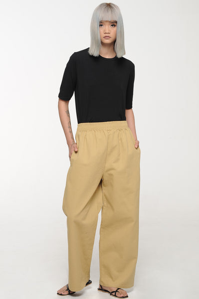 Khaki Easy Leg Trousers