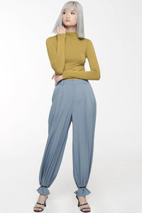 Blue Gray Front Pleat Trouser