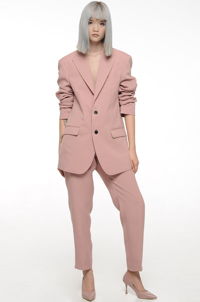 Rose Blush Single Breasted Blazer and Trouser Suit Set