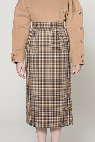 Khaki Plaid Pencil Skirt