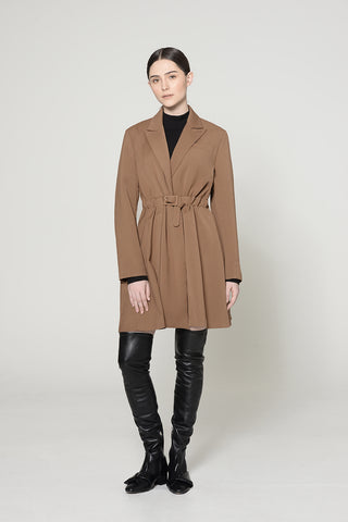 COFFEE BELTED COAT DRESS