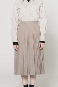 TAUPE PLEATED SKIRT