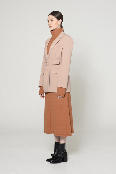 BLUSH BELTED BOXY BLAZER JACKET