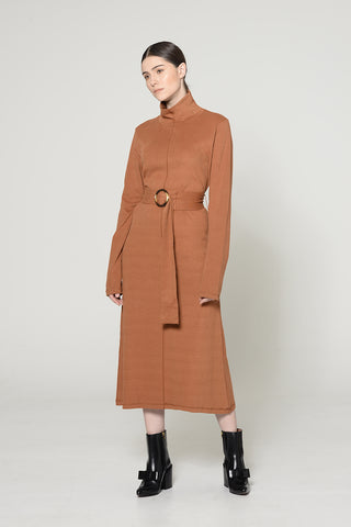 RUST HIGH NECK BELTED DRESS