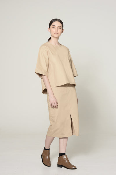 TAN BOXY CANVAS TOP
