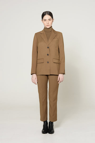 Field Drab Blazer And Cropped Trouser Suit Set